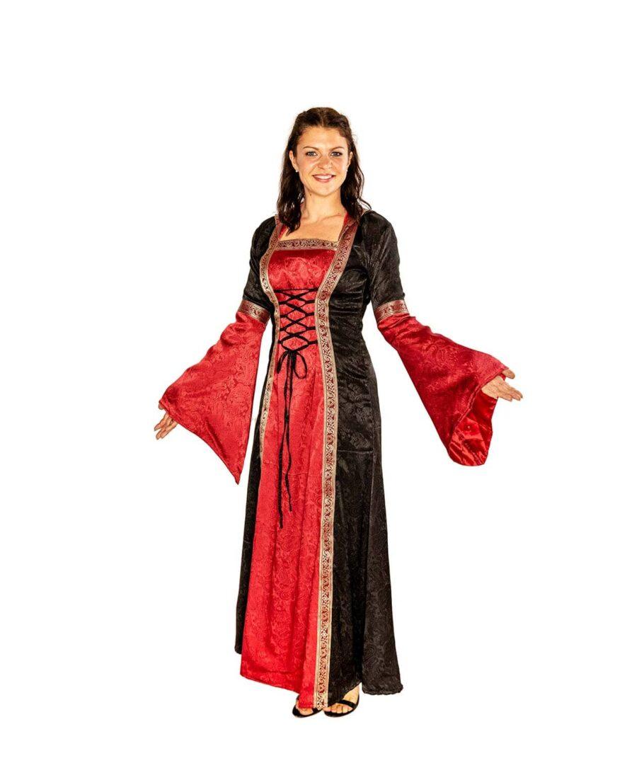 Edles Mittelalterkleid in schwarz-rot Vorderansicht.