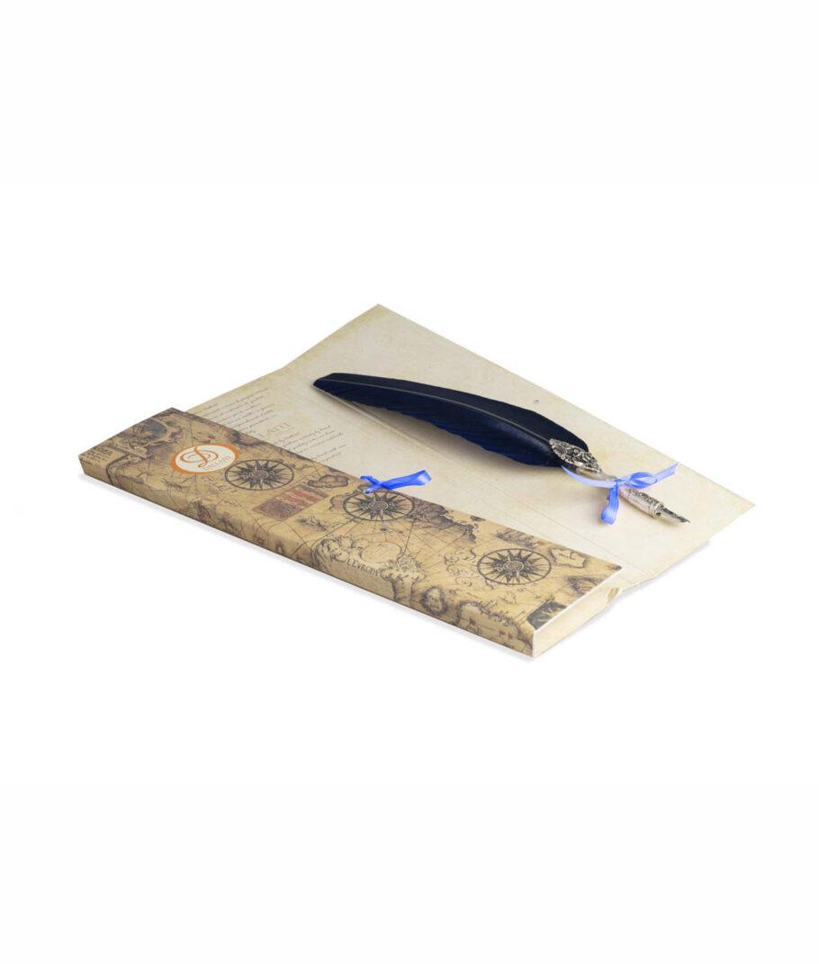 Schreibfeder blau mit Engel.