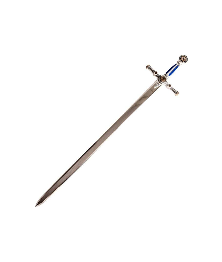 Das sagenumwobene Schwert des Freimaurer Ordnes mit blauem Griff.