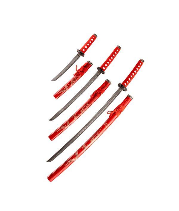 Samurai Garnitur Red Dragon mit drei Schwertern offen