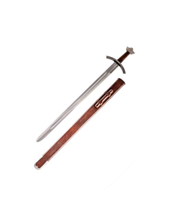Hochmittelalter Ritterschwert mit brauner Scheide