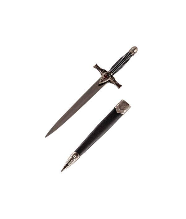 Silberner Ritterdolch mit schwarzer Scheide
