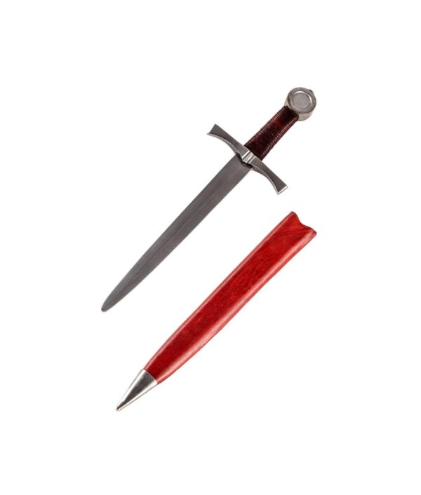 Scheibenknaufdolch mit roter Lederscheide.