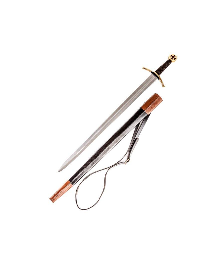 Templer Schwert mit rotem Tatzenkreuz und zweifarbiger Lederscheide.