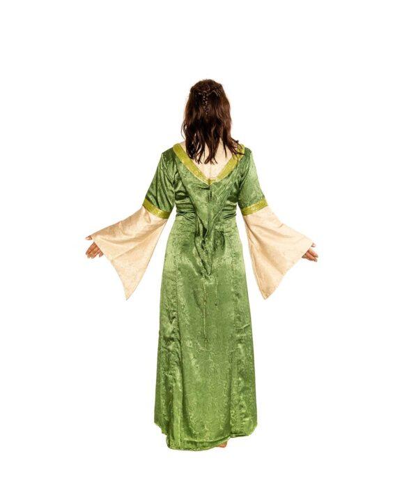 Edles Mittelalterkleid mit Kapuze zum Schnüren in natur-grün