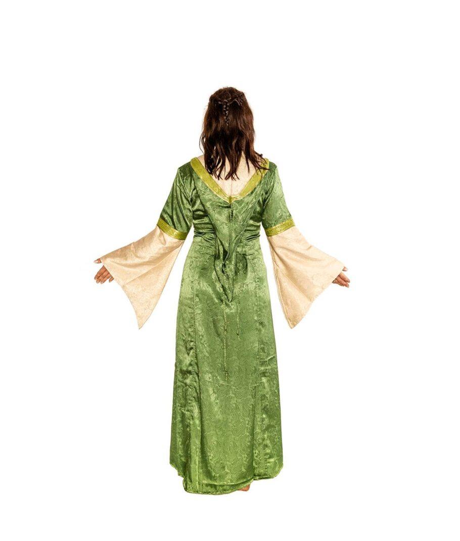 Edles Mittelalterkleid mit Kapuze zum Schnüren in Grün-Natur von Hinten.