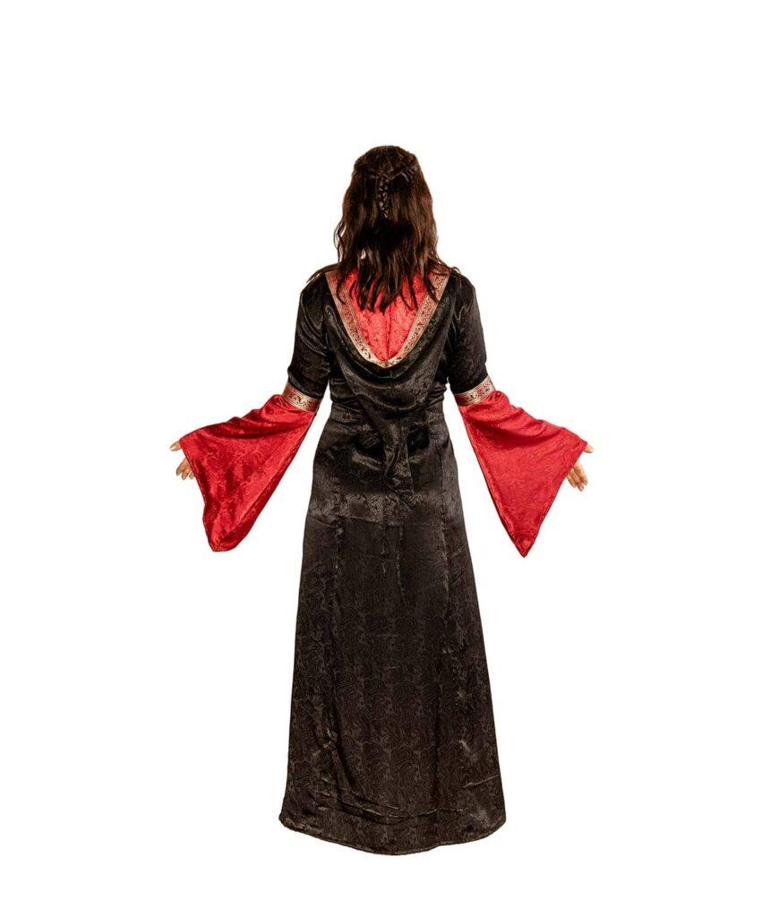 Edles Kleid zum Schnüren mit Kaputze in rot-schwarz Rückenansicht.