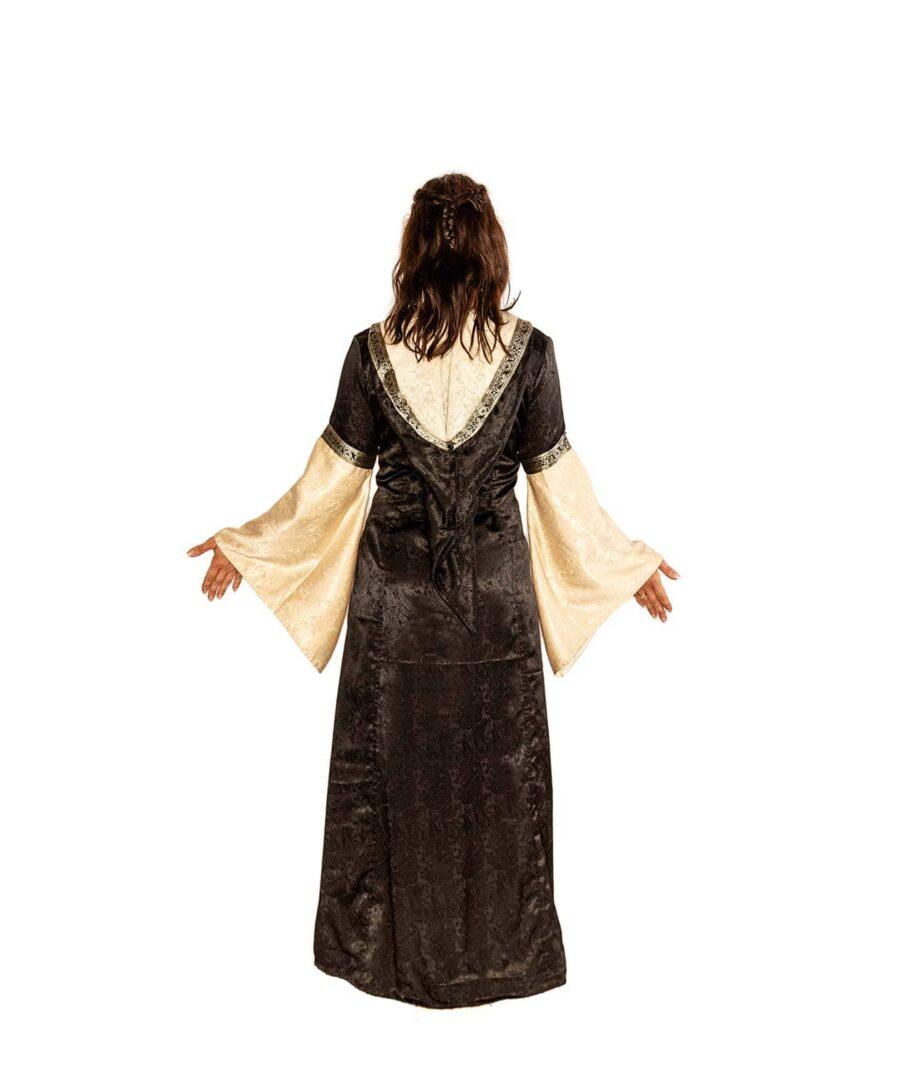 Edles Mittelalerkleid in Natur-Schwarz mit Kaputze und Schnürungen Rückenansicht