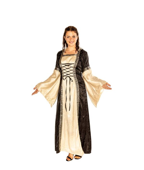 Edles Mittelalterkleit zum Schnüren in Schwarz-natur