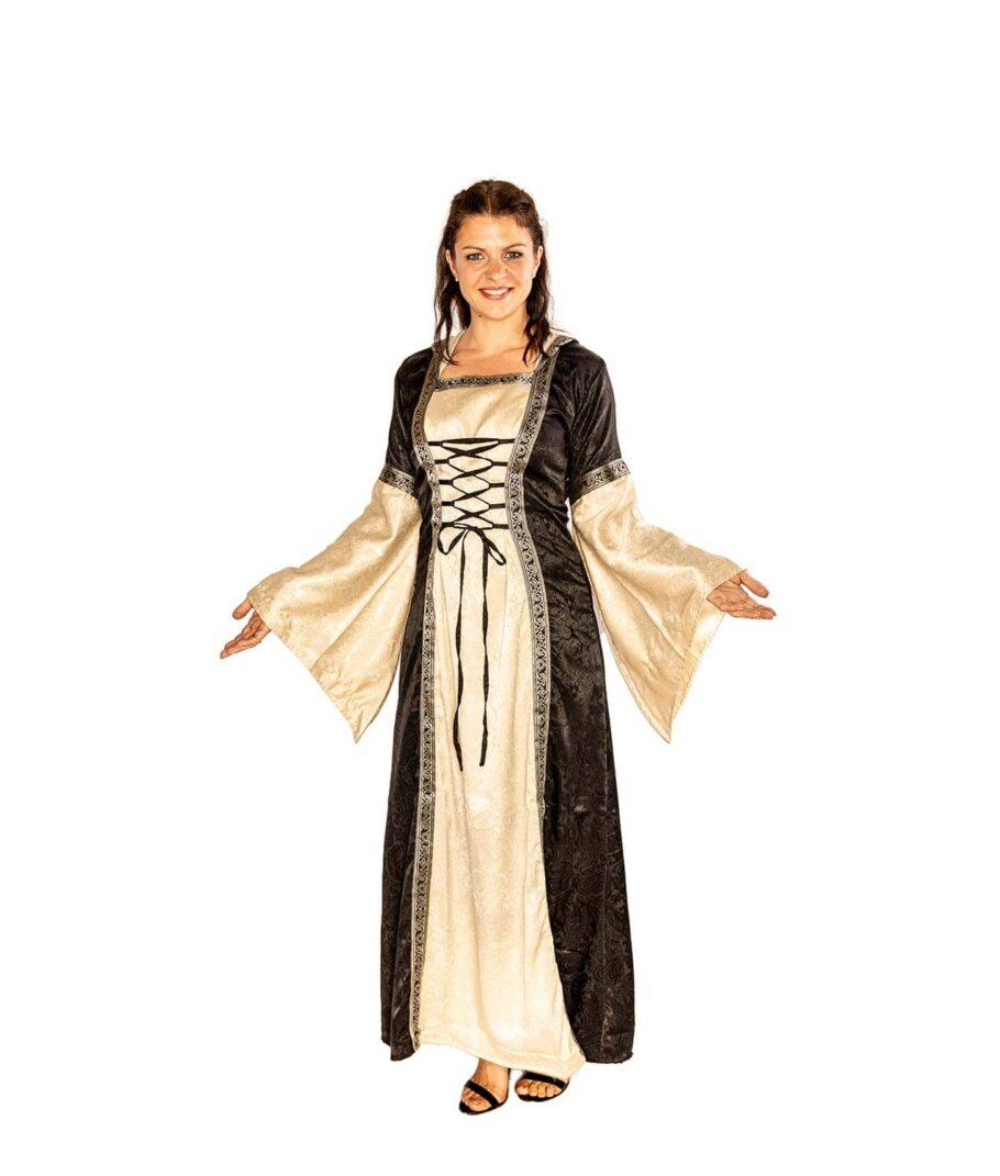 Edles Mittelalterkleid zum Schnüren in Schwarz-natur