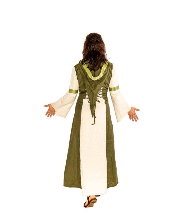 Rückenansicht des Mittelalterkleid aus Baumwolle mit Kapuze und Schnürungen in Grün-Natur.