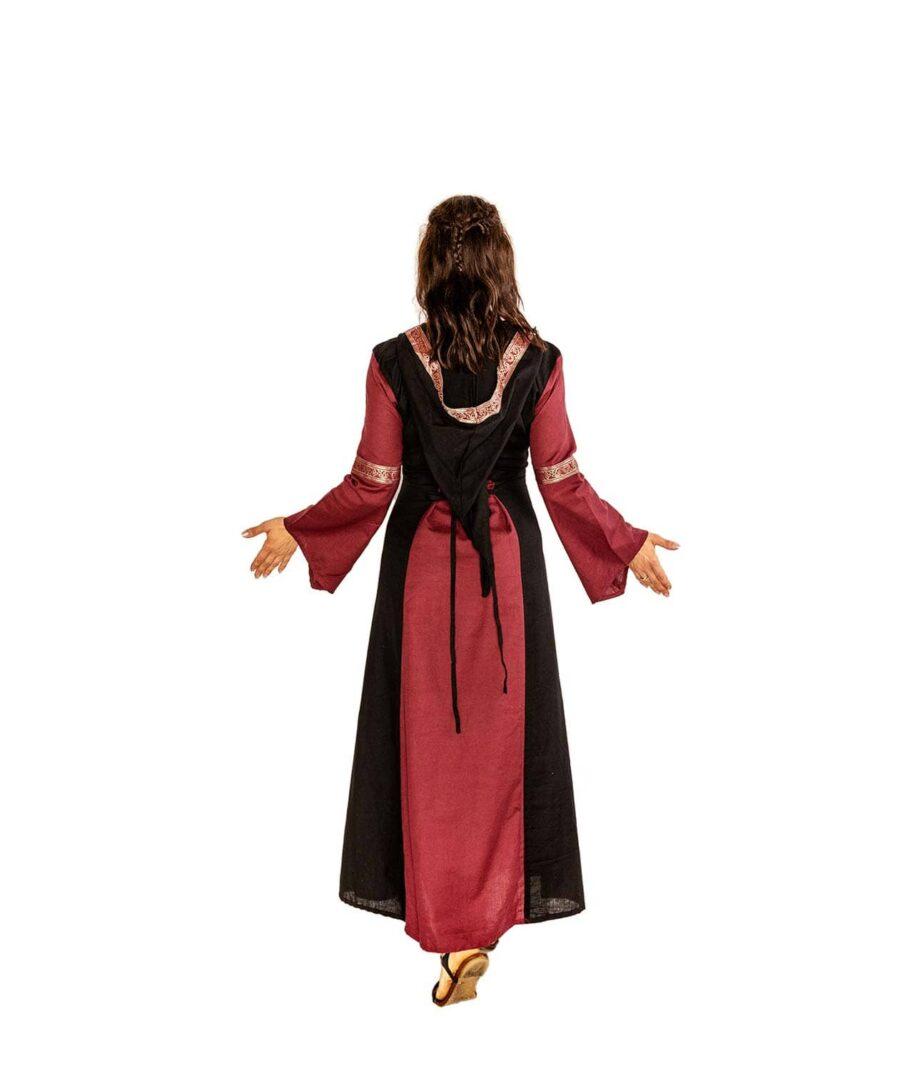 Baumwoll-Mittelalterkleid mit Schnürungen und Kapuze in Schwarz-Rot von hinten.