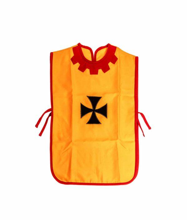 Kinder Waffenrock mit schwarzem Kreuz orangen Grund.