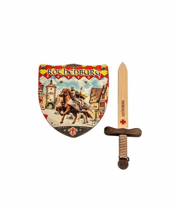 Rothenburger Kinder Ritter-Set mit Holzschwert und Holzschild.