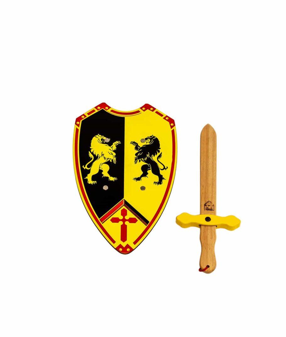 Ritter-Set mit Schwert und Schild in gelb und schwarz mit zwei Löwen.
