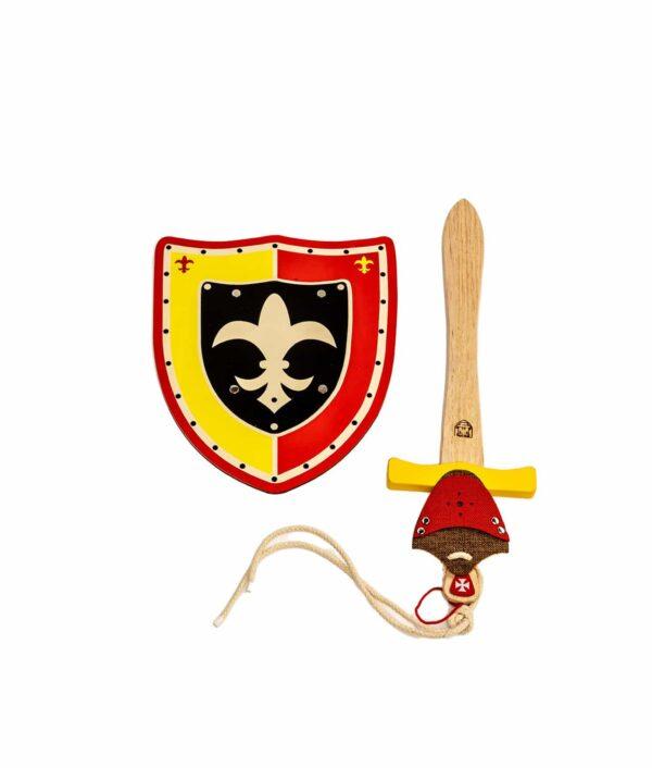 Ritter-Set mit Schwert, Schild und Schwerthalter in gelb und rot.