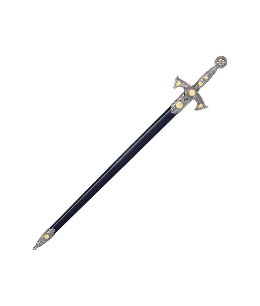 Kurzschwert der Templer mit schwarzer Scheide und silbernen Griff.