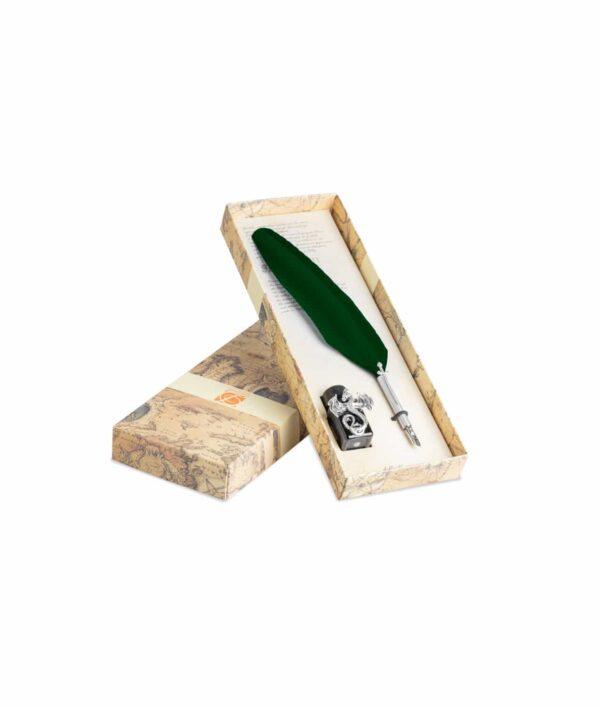 Kalligraphie-Set Schwert mit Tintenfass Drache in grün.