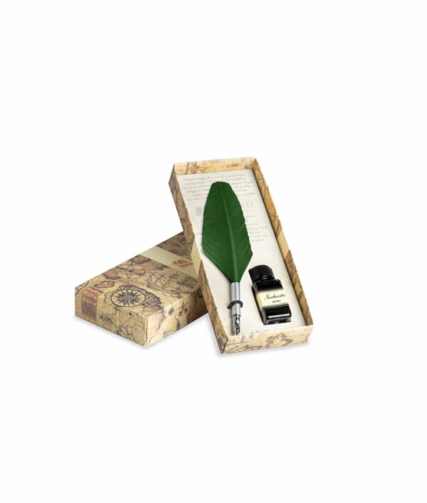 Schreibfederset klein mit Feder und Tinte in grün.