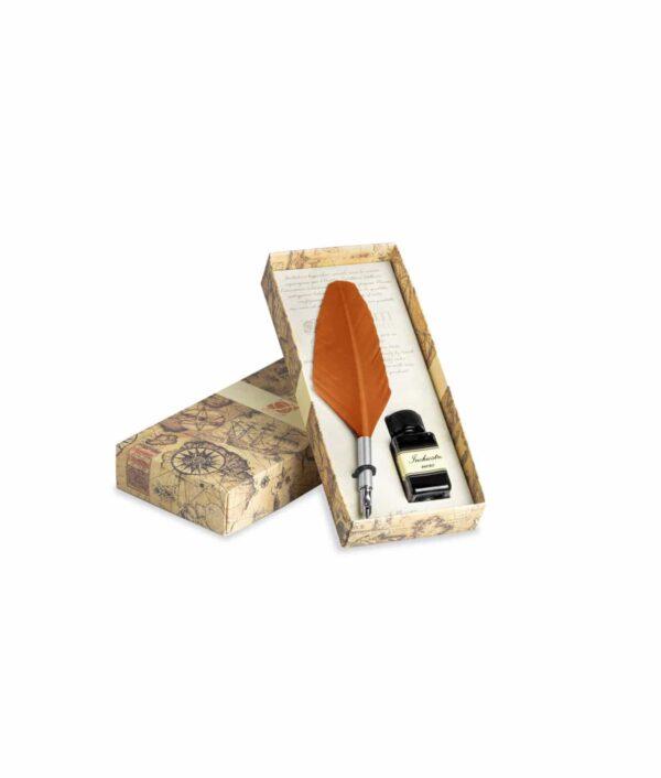Schreibfederset klein mit Feder und Tinte in orange.