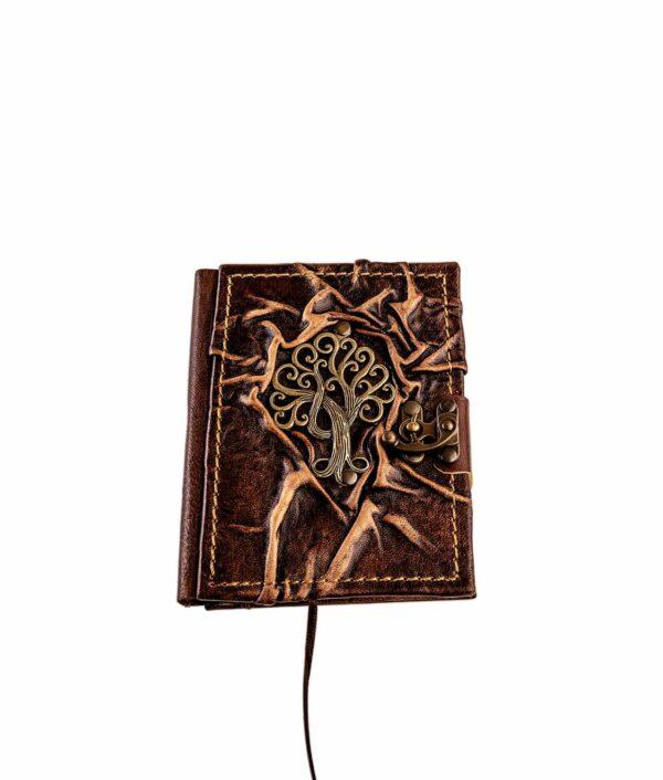 Lederbuch klein mit Olivenbaum.