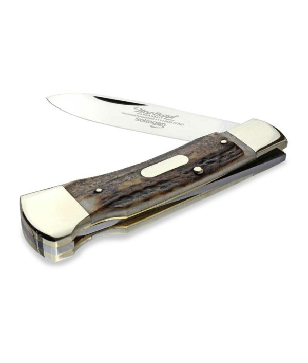 Halb geöffnetes Hartkopf Taschenmesser mit Hirschhorn und Back-Lock.