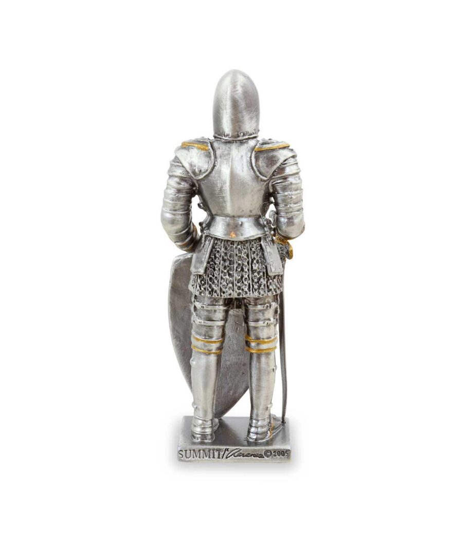 Templer-Zinnritter mit Schild und Schwert Rückansicht