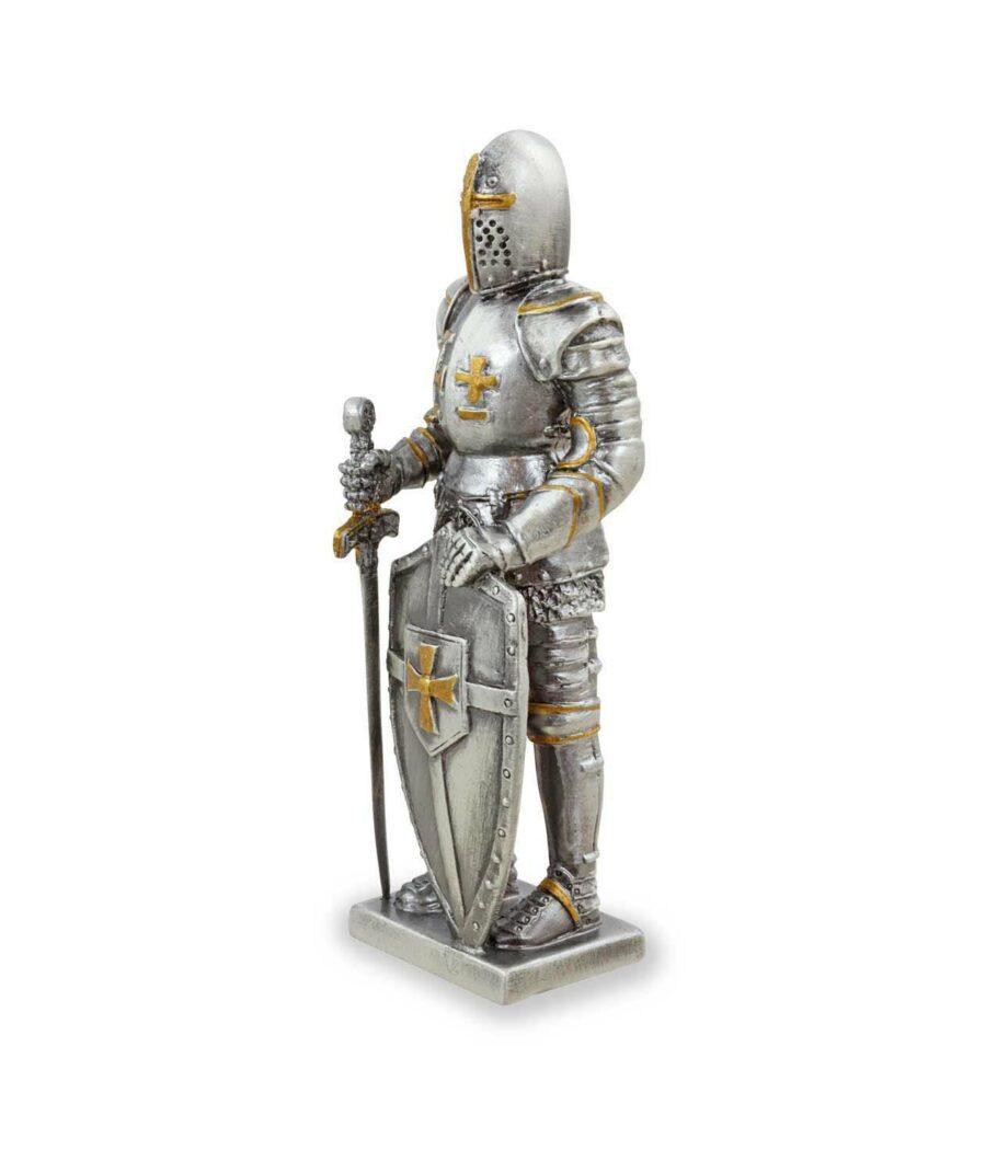 Templer-Zinnritter mit Schild und Schwert linke Seite