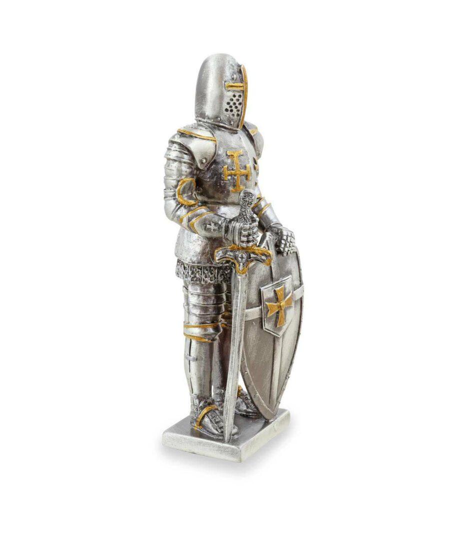 Templer-Zinnritter mit Schild und Schwert rechte Seite