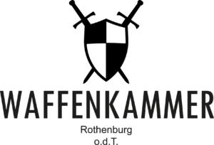 Das Logo der Waffenkammer Rothenurg mit Schwert und zwei gekreuzten Schwertern.