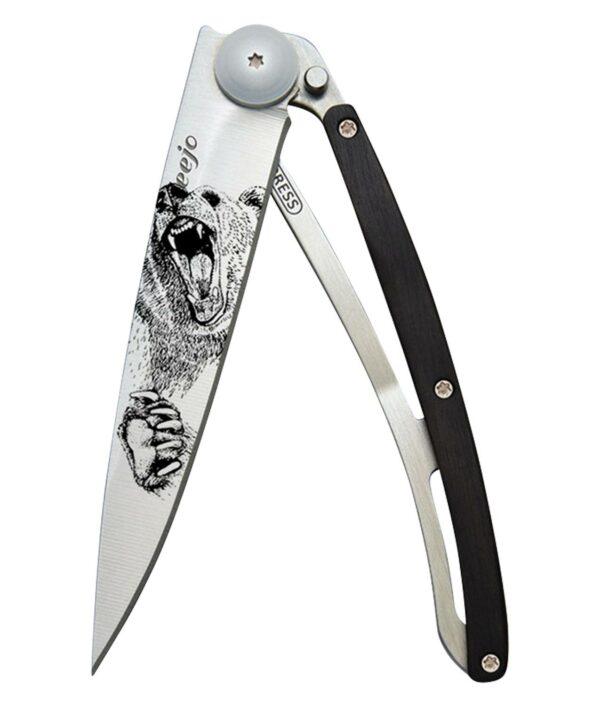Deejo Taschenmesser mit Grizzly Tattoo und Ebenholz Beschalung.