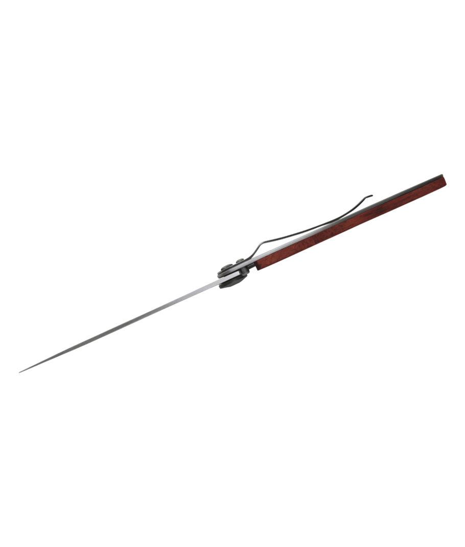 Messerrücken eines Deejo Taschenmessers mit Korallenholz und Gürtelclip.