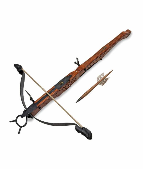 Mittelalterliche Armbrust groß 88 cm mit Bolzen