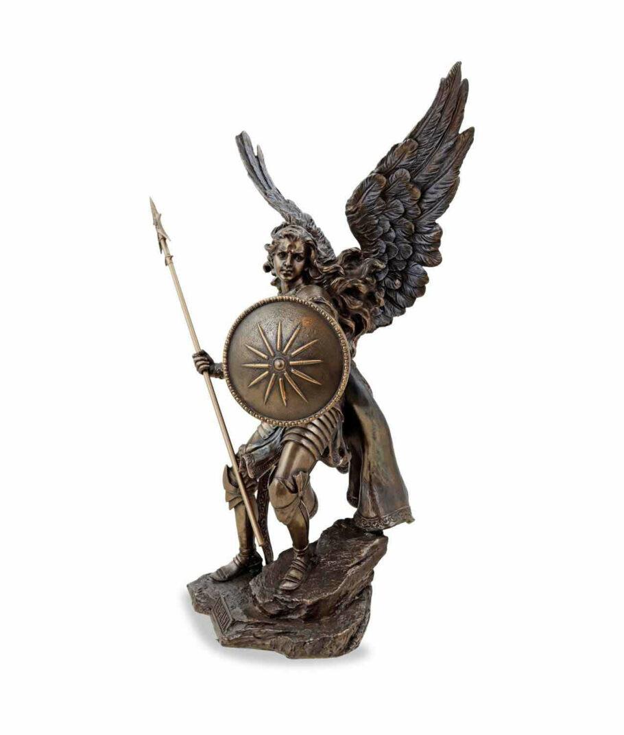 Erzengel Raphael mit Speer und Schild bronziert linke Seite