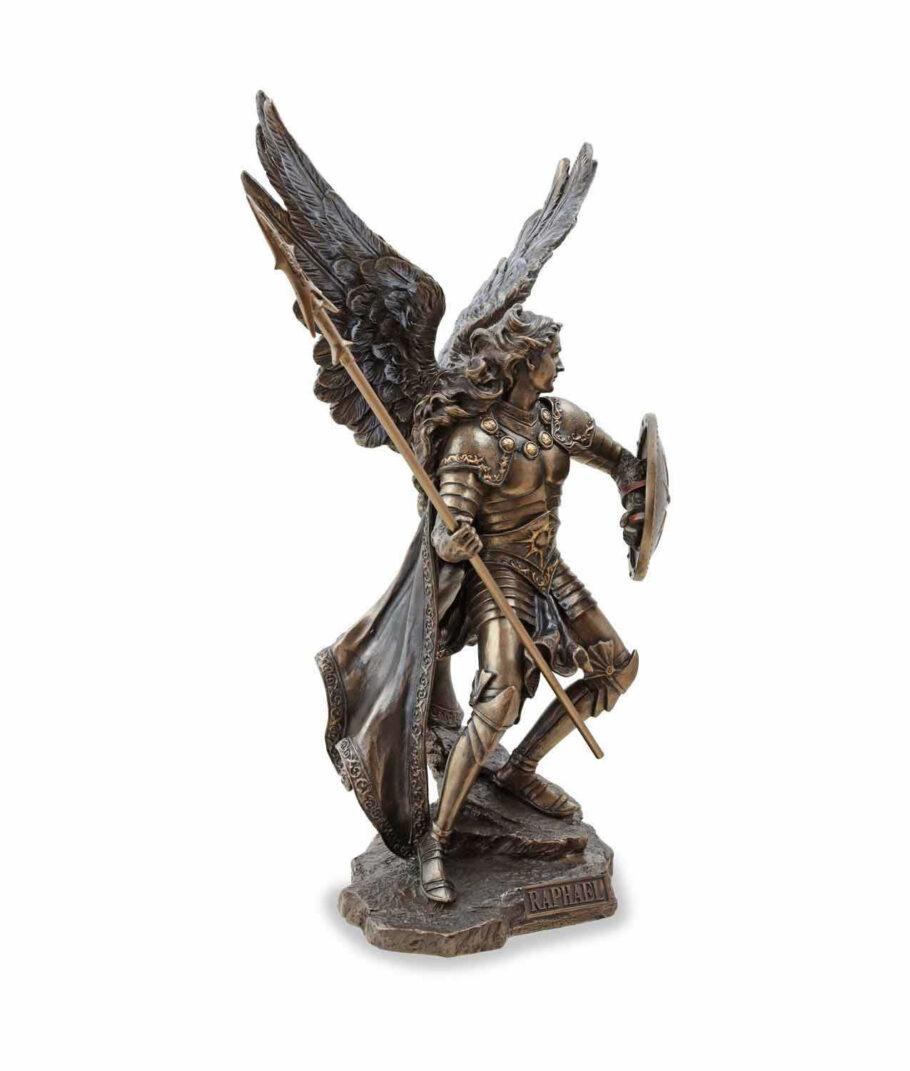 Erzengel Raphael mit Speer und Schild bronziert rechte Seite