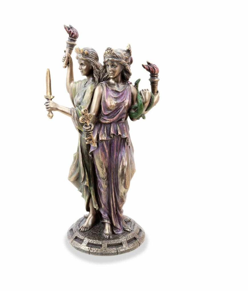 Griechische Göttin der Magie Hekate bronziert mit 3 Gesichtern rot