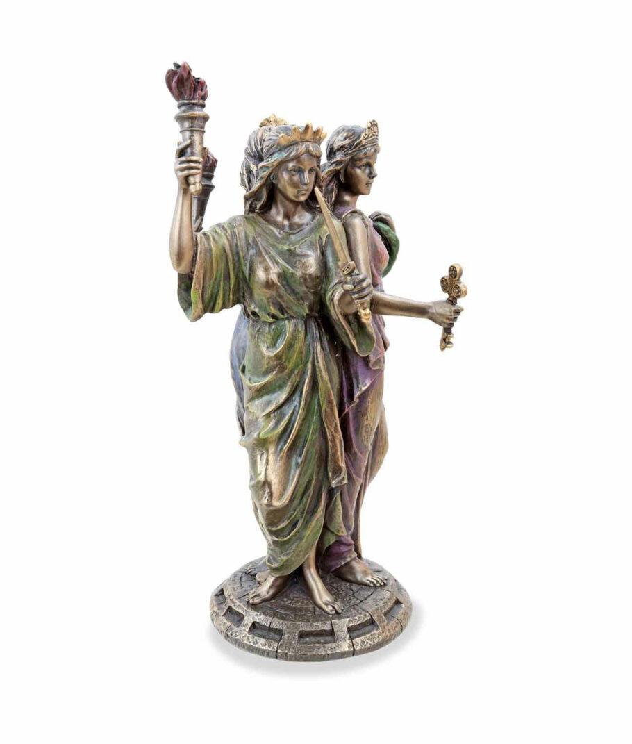 Griechische Göttin der Magie Hekate bronziert mit 3 Gesichtern grün