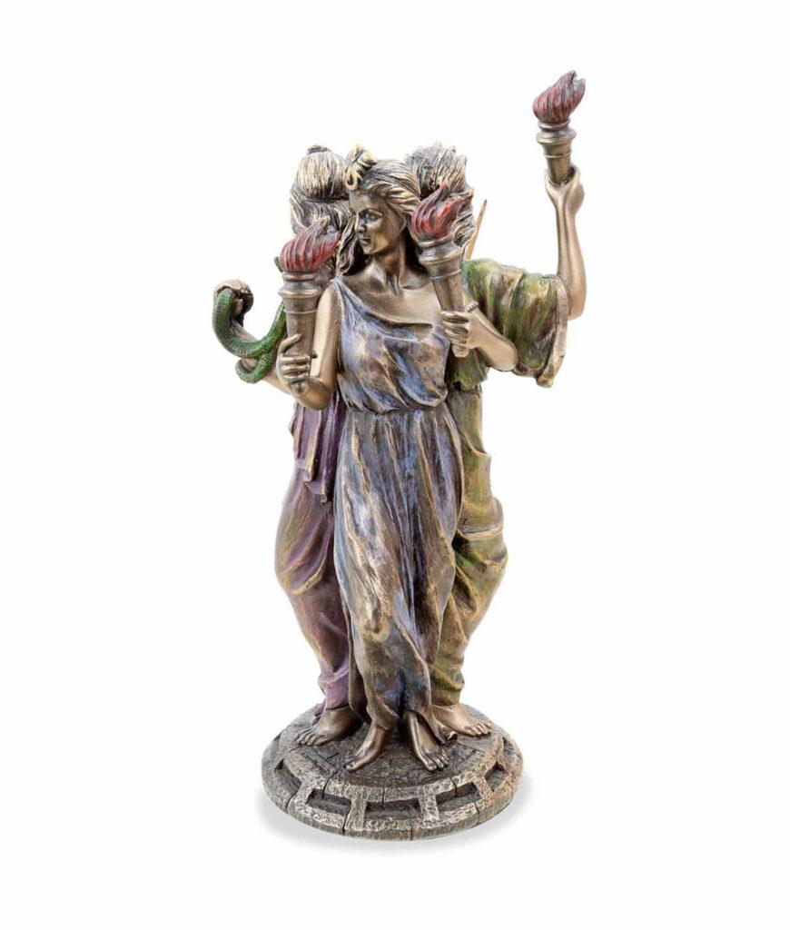 Griechische Göttin der Magie Hekate bronziert mit 3 Gesichtern blau