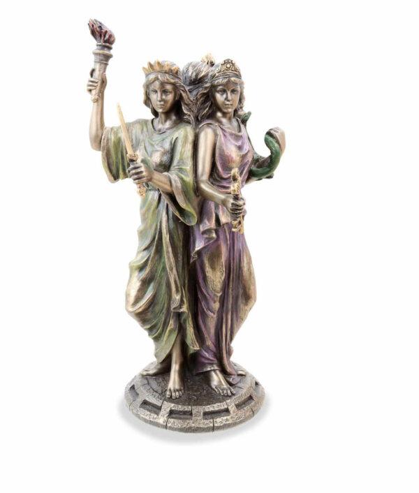 Griechische Göttin der Magie Hekate bronziert mit 3 Gesichtern