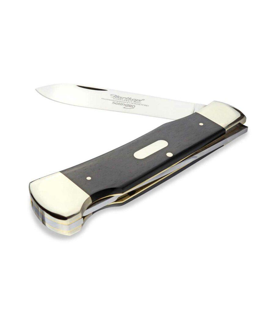 Hartkopf Taschenmesser in Ebenholz mit Back Lock halb geöffnet.