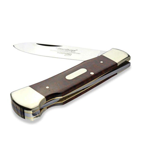 Halb geöffnetes Hartkopf Taschenmesser mit Schlangenholz.