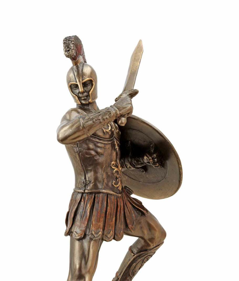 Hector, der trojanische Prinz mit Schwert, bronziert, Gesicht