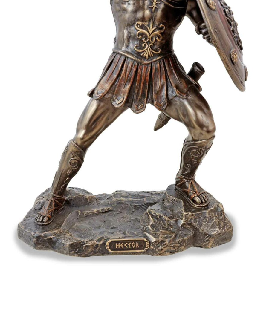 Hector, der trojanische Prinz mit Schwert, bronziert, Sockel