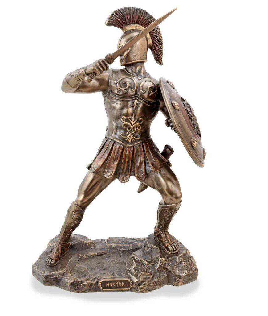 Hector, der trojanische Prinz mit Schwert, bronziert, frontal