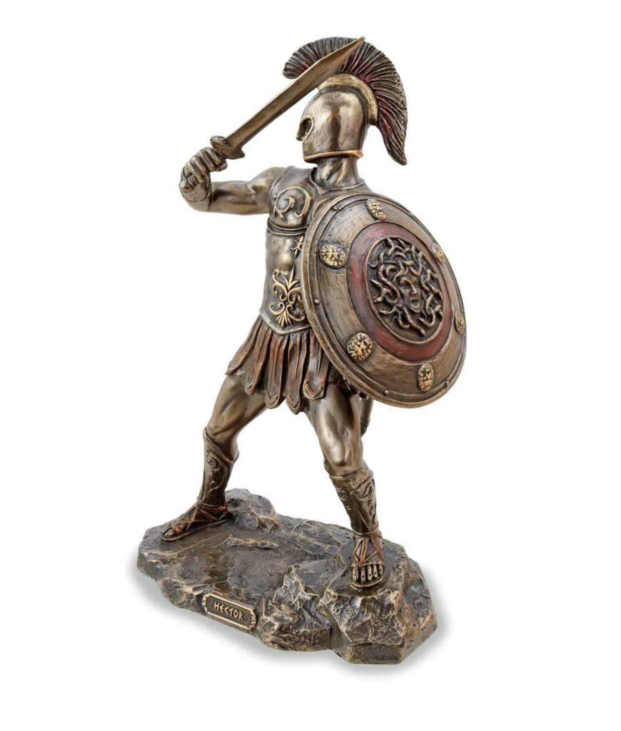 Hector, der trojanische Prinz mit Schwert, bronziert, linke Seite