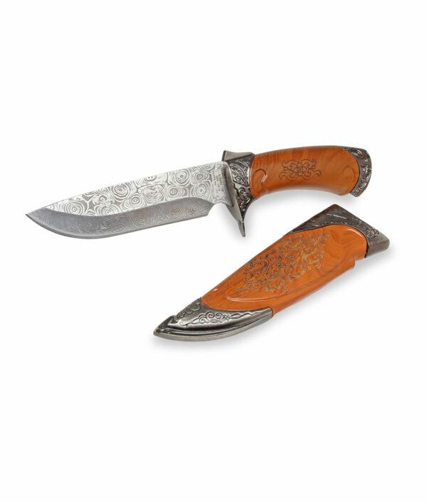 Herbertz Messer mit verzierter Klinge mit brauner Scheide