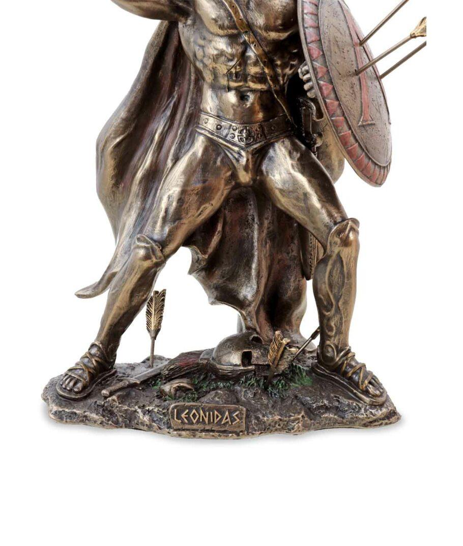 Kämpfender Leonidas mit Speer und Schild Sockel