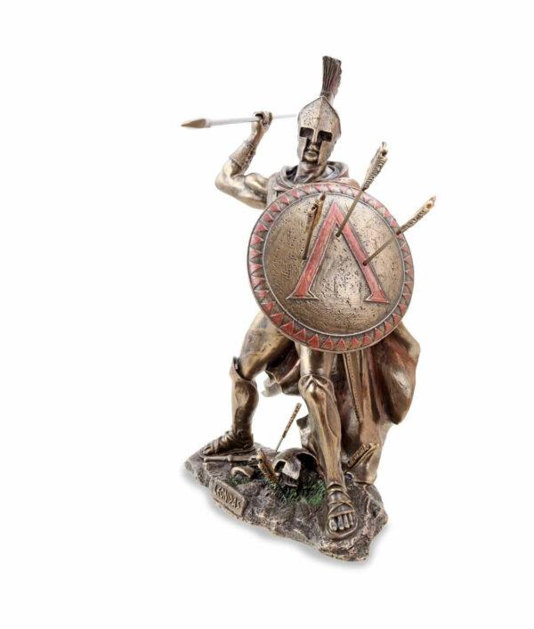 Kämpfender Leonidas mit Speer und Schild linke Seite