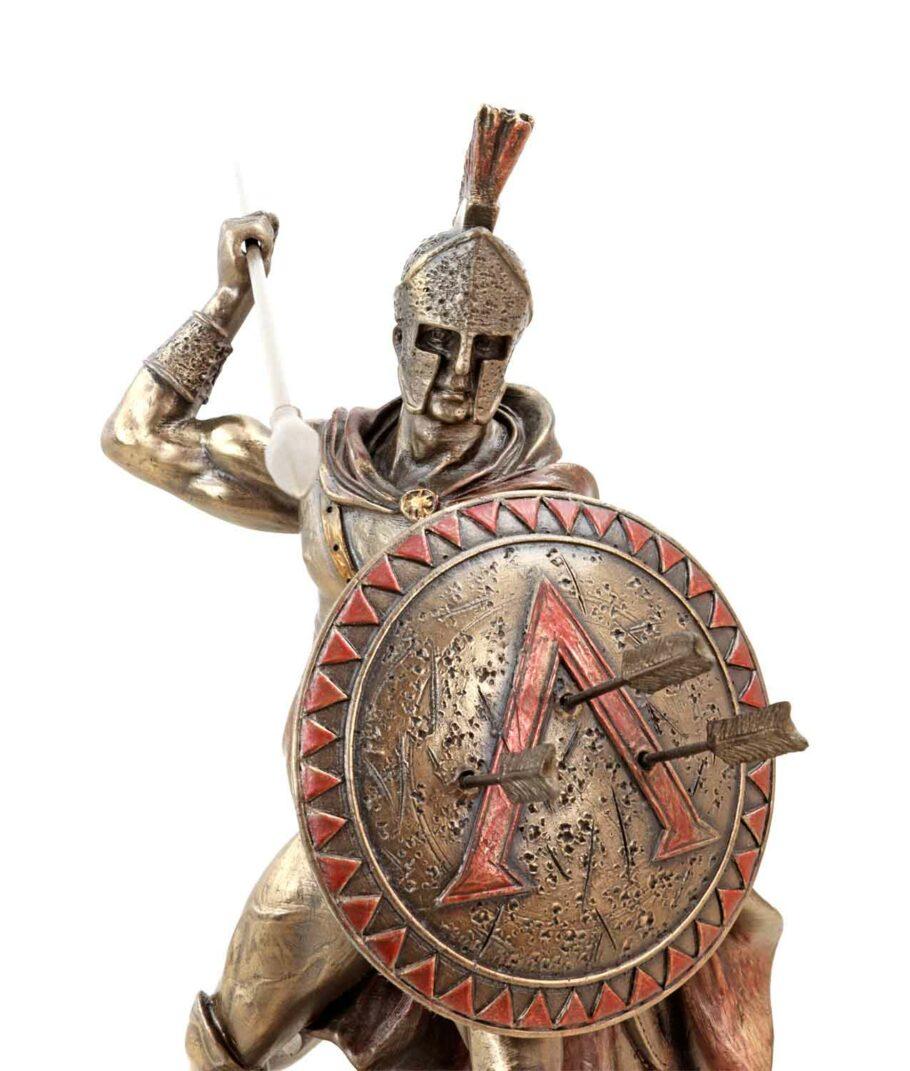 Leonidas hält Schild und Speer bronziert Gesicht