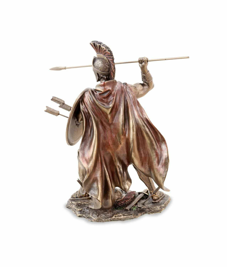 Leonidas hält Schild und Speer bronziert Rückseite
